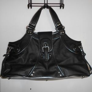 Black Leather Tote Satchel Bag with Silver detail